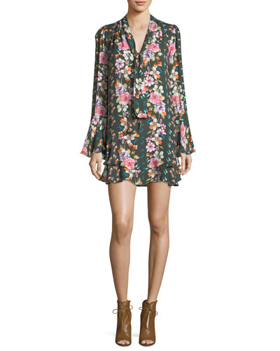 Cathryn Tie-Neck Floral-Print Dress