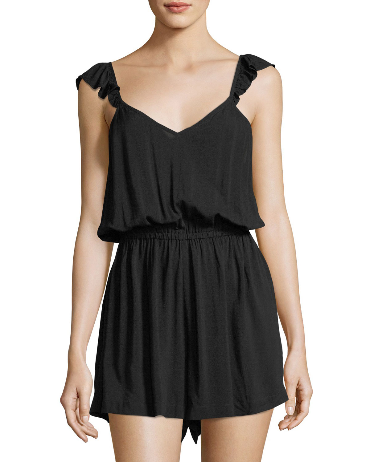 Ruffled-Strap Coverup Playsuit
