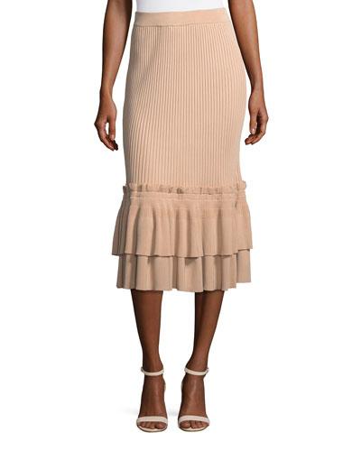 Ribbed-Knit Trumpet Skirt