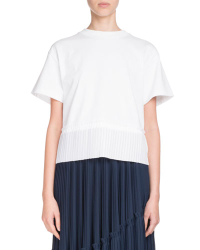 Crewneck Short-Sleeve Cotton Tee w/ Pleated Hem