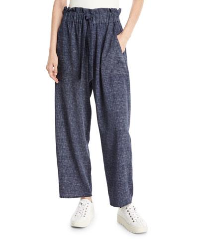 Kori Denim-Print Stretch Crepe Pants