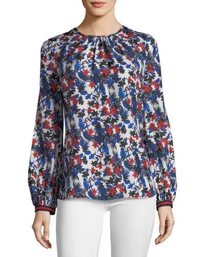 Mandy Hibiscus-Print Silk Top