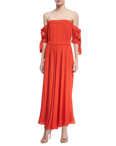 Zoey Stretch Silk Off-Shoulder Maxi Dress