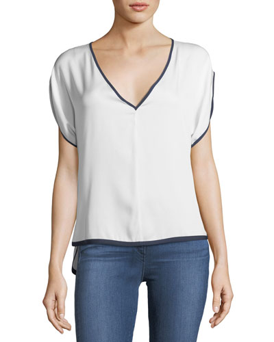 Stretch Silk V-Neck Dolman Top