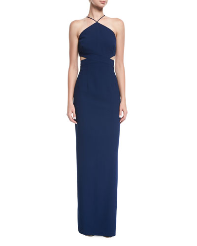 Crepe Halter Column Evening Gown w/ Cutouts