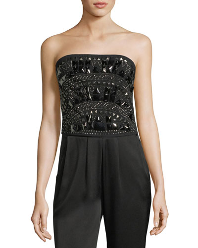 Jo Embellished Strapless Crop Top
