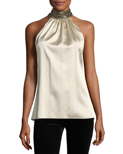 Galina Jeweled-Collar Silk Satin Blouse