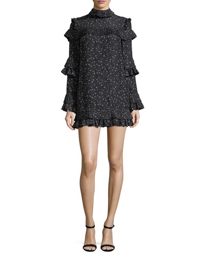 Diamond-Print Mock-Neck Ruffled Silk Dress