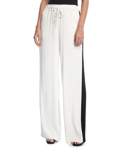 Drawstring Wide-Leg Satin Track Pants