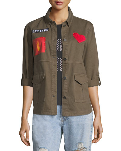 Charlie Oversized Military Jacket with Patches