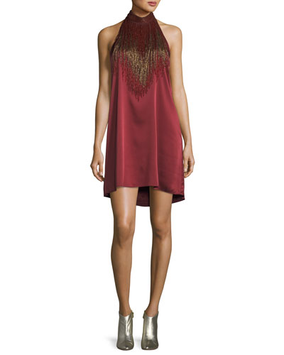 Georgica Beaded Fringe Halter Cocktail Dress