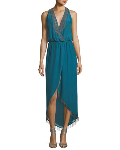 Falcon Surplice Lace-Trim Cocktail Dress
