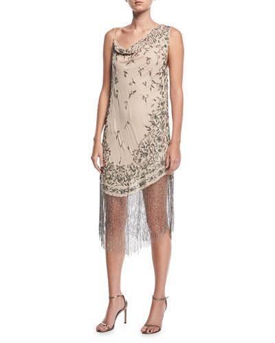 Mojave Desert Asymmetric Beaded Fringe Dress