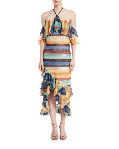 Annabeth Striped Off-Shoulder Dress