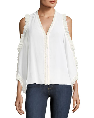 Claudette V-Neck Cold-Shoulder Silk Blouse