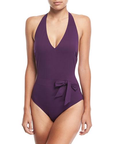 Au Natural Halter V-Neck Surplice One-Piece Swimsuit