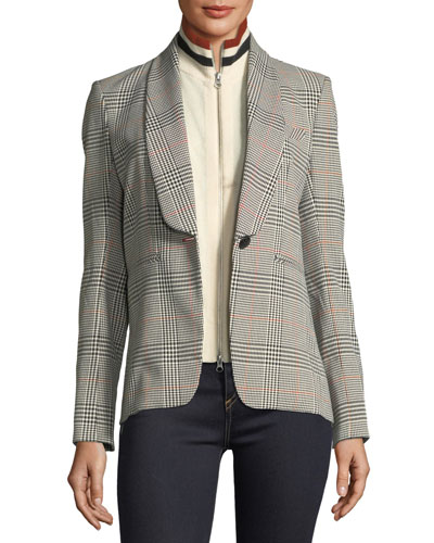 Eva Single-Button Plaid Tailored Jacket