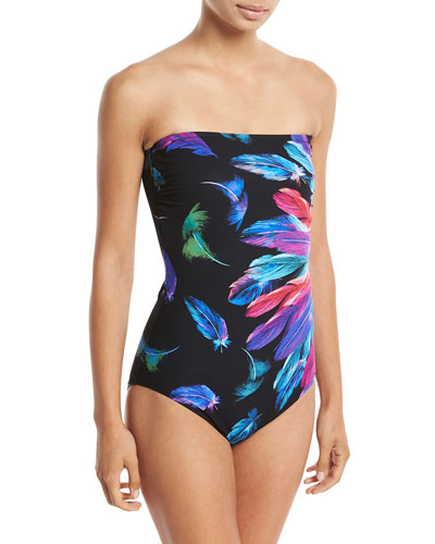 Reverie Bandeau Feather-Printed One-Piece Swimsuit
