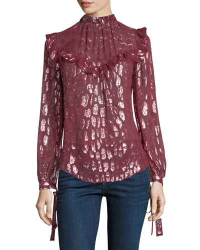 Brooks Mock-Neck Long-Sleeve Silk Blouse w/ Metallic