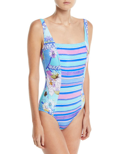 Samsoir Square-Neck Multi-Printed One-Piece Swimsuit