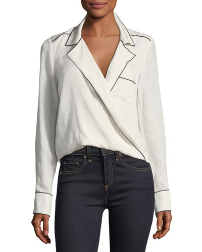 Worth Surplice Long-Sleeve Silk Blouse
