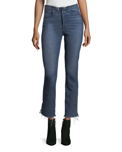 W4 Shelter Straight-Leg Raw-Edge Jeans