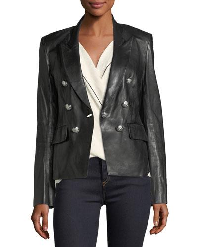 Cooke Peak-Lapel Leather Jacket