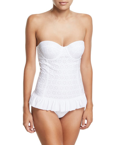Broderie Anglaise Flounce One-Piece Swimsuit