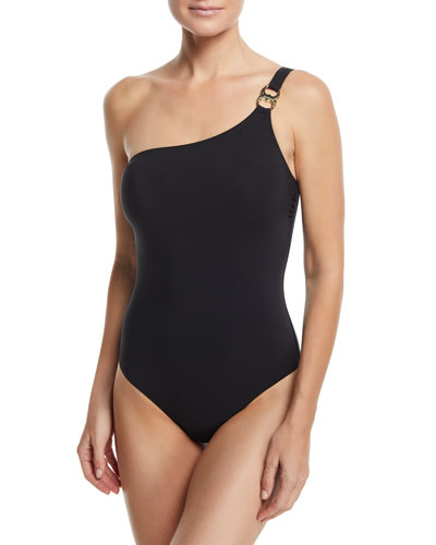Gemini-Link One-Shoulder One-Piece Swimsuit