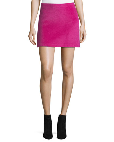 Helmut Lang Re-Edition Brushed Alpaca-Wool A-Line Mini Skirt
