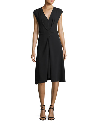V-Neck Cap-Sleeve Crepe Midi Dress