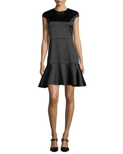 Essential Flare Crewneck A-Line Satin Dress