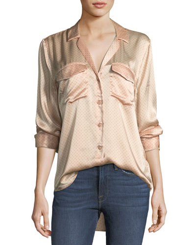 Ansley Button-Front Long-Sleeve Silk Charmeuse Blouse