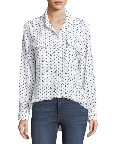Moon & Stars Button-Front Print Signature Silk Shirt