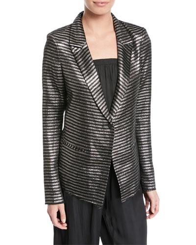 Iggy Peak-Lapel Metallic Striped One-Button Blazer