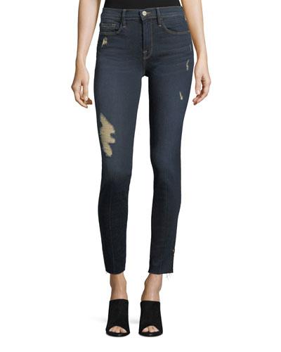 Le Skinny Raw-Edge Hem-Slit Jeans