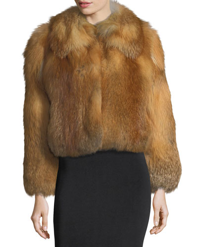 Lex Long-Sleeve Fox-Fur Coat