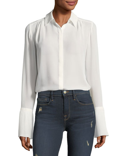 Button-Front Pintucked-Cuffs Chiffon Blouse
