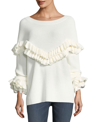 Ruffle-Yoke Ribbed Sweater