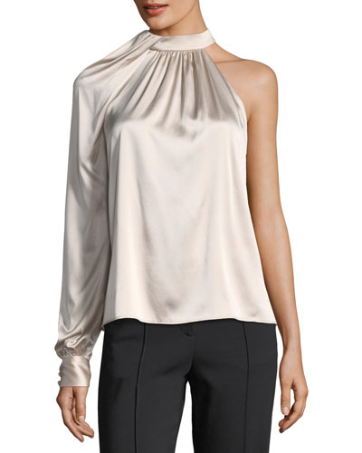 Piper Mock-Neck One-Shoulder Silk Satin Blouse