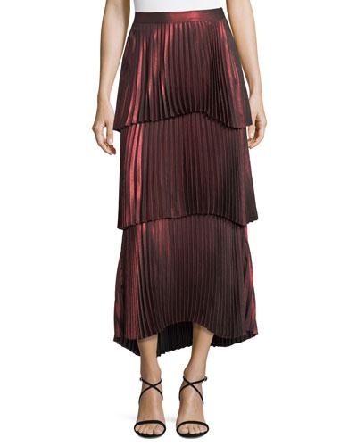 Halrey Tiered Pleated Metallic Skirt
