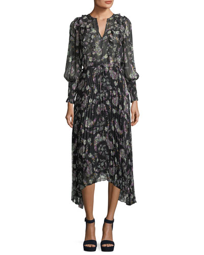 Split-Neck Long-Sleeve Floral-Print Chiffon Dress