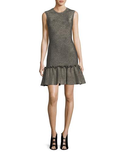 Kilmer Crewneck Sleeveless Metallic Knit Mini Dress