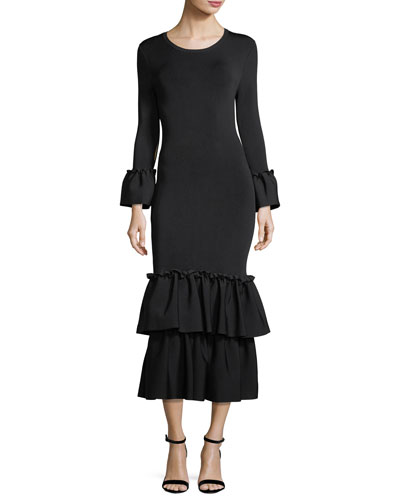 Adler Scoop-Neck Long-Sleeve Knit Dress