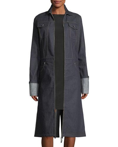 Zip-Front Denim Trench Coat