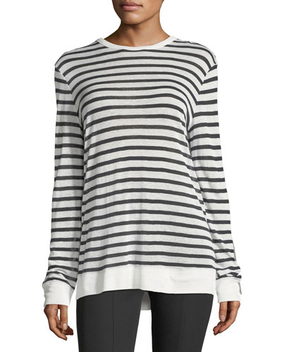 Striped Slub Jersey Long-Sleeve Tee