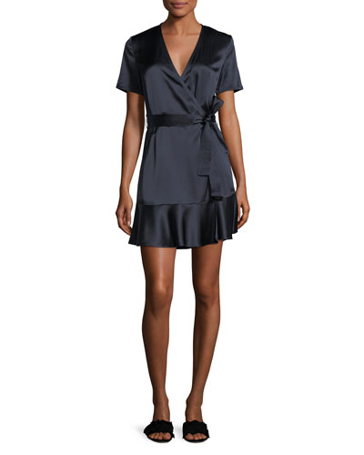 Micah Silk Satin Wrap Dress