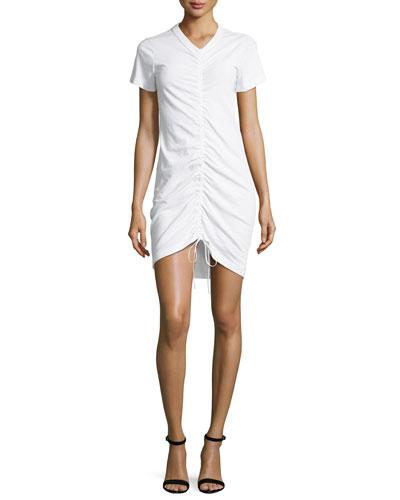 High-Twist Gathered Front Short-Sleeve Cotton Dress