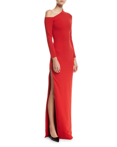 One-Shoulder High-Slit Crepe-Knit Gown
