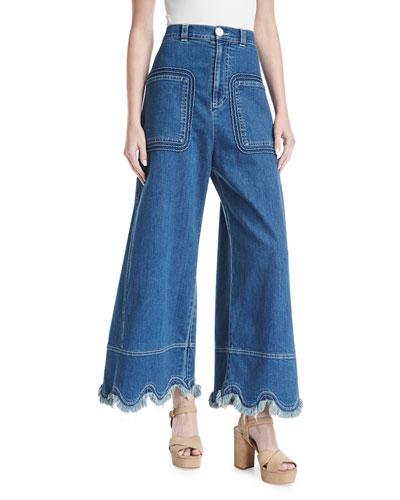 Scallop-Hem Denim Trousers